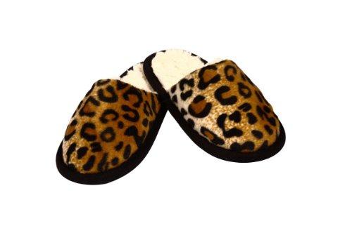 Gauche licardo pantoufles en aspect léopard, 1 paire, Polyester, marron, 44/45 marron