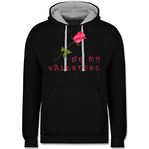 Valentinstag - Be my Valentine Rose Liebe - Kontrast Hoodie Schwarz/Grau Meliert
