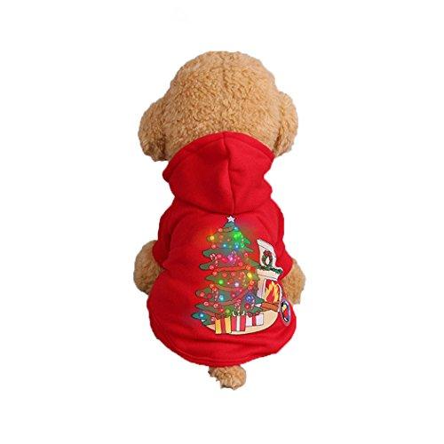 Abcsea Haustier Kostüm, Haustier Kleidung, Hund Kleidung, Haustier Glühen Kleidung, Leuchten Im Dunkeln, Hund Halloween Halloween Glühen Kostüm, Weihnachten Fackel Stil - Rot - L (Dunklen Hund Halloween-kostüm)