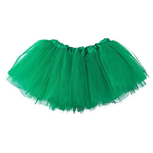 Teufel Tutu Kostüm Mädchen - Ksnrang Mädchen Tüllrock Tutu Rock 2-7 Jahre, Minirock 5 Lagen Tanzkleid Dehnbaren Tütü Röcke Ballettrock für Party Halloween Kostüme Tanzen (2-7 Jahre, Grün)