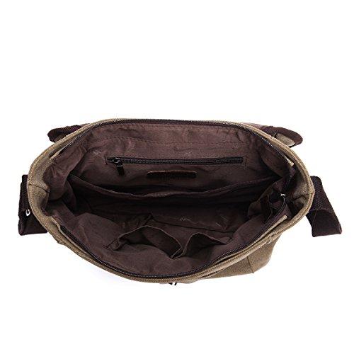 Eshow shoulder bag cross body bag Messenger Bag Briefcase Casual Canvas for Women/Men Kaffee