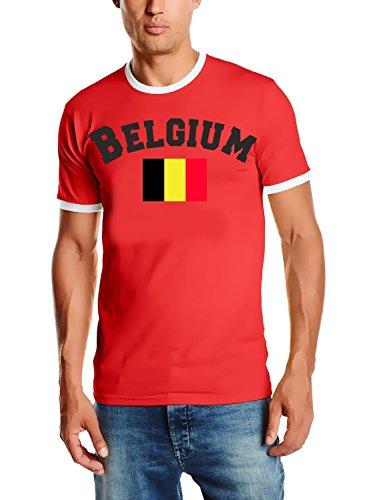 Belgien T-Shirt Ringer Rot, Gr.L