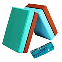 AGDLLYD Yoga Blocks 2 Pack and Strap Set,EVA Foam Yoga Block and Elastic Belt to Provide Stability and Balance - Lightweight Brick for Exercise, Pilates, Workout, Fitness, Gym