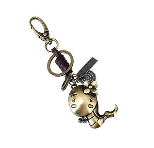 Preisvergleich Produktbild Adisaer Schlüsselringe Leder Metalllegierung Schlüsselbund Herren Damen 12 Chinesische Sternzeichen Schlange Schlüsselanhänger für Frauen,  Männer 1PCS Taschen Party