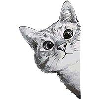DAMANGXIANG Números Pintura Al Óleo DIY Kits Pintados A Mano Animal Voyeur Gato Dibujos Animados Modernos