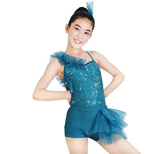 MiDee 2 Stück Dekorativen Umrahmung Hemdchen, Oder So Was Jazz Dance Kostüm Outfit Stahlrohr Tragen (Seeblau, (Kostüme Dance Jazz Stück Zwei)
