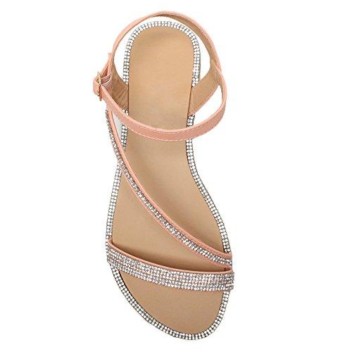 Femmes plat talons cheville boucle diamante été lanières sandales pointure Rose