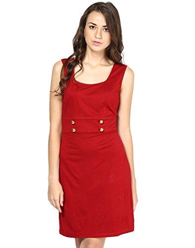 Besiva Women's Sleeveless Wrap Dress (BDP142_Brown_Large)