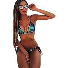 Sonnena Lentejuelas Bikini de Mujer de Dos Piezas, Traje de Baño Sexy de Playa con