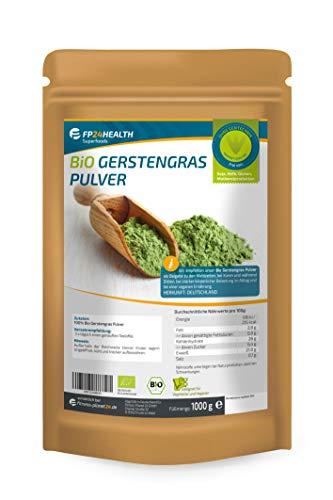 FP24 Health Bio Gerstengras Pulver 1000g - Rückstandskontrolliert - 1kg Gerstengraspulver aus AT oder DE im Zippbeutel - Top Qualität