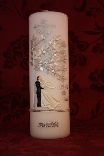 """Hochzeitskerze mit Namen & Datum Diamantene Hochzeit 60 DH-07 AUCH mit Aufschrift """"Zur Hochzeit"""" lieferbar"""