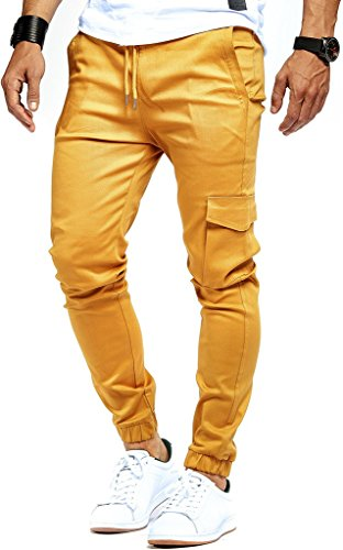 LEIF NELSON Herren Jogger Chino Cargo Jeans Hose Freitzeithose LN8071; Größe XXL; Camel