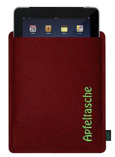 Filztasche für iPad, bordeaux, mit Stickerei Apfeltasche; speziell angepasst, 100% Wollfilz, Qualität aus Deutschland (Krone-wappen-stickerei)
