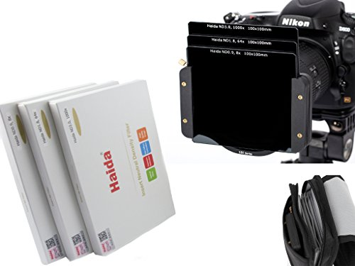 Haida Optical Neutral 3er Graufilter Set 100 mm x 100 mm ND0.9 (8x) / ND1.8 (64x) / ND3.0 (1000x) - Inkl. Haida Filtertasche - Kompatibel mit Z Pro und SW100 Halter - 0 X 8 Serie