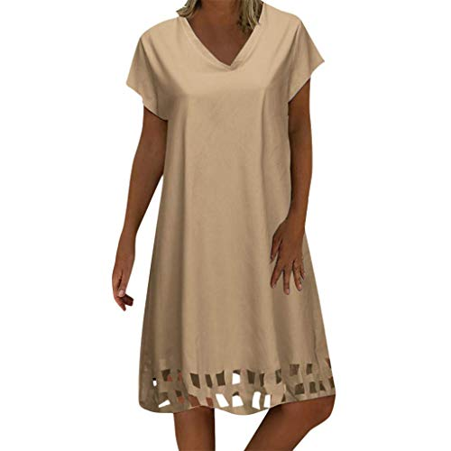 KOKOUK Mini Dresses Sale Women Summer Plus Size Vintage Ethnic Printed V-Neck Cotton and Linen Shift Dress (E Khaki) Beaded Waist Halter Dress
