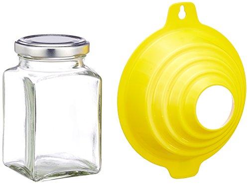 Viva Haushaltswaren - 6 x eckiges Marmeladenglas / Gewürzglas 260 ml mit silberfarbenem Schraubverschluss, Gläser Set mit Deckel als Einmachgläser, Vorratsdose etc. verwendbar (inkl. Trichter)