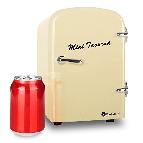 "Klarstein \""Mini Taverna\"" mobiler kleiner Mini Auto Kühlschrank 12V Kühlbox Warmhaltbox (4 Liter, Tragegriff, Netz- oder via 12V-Zigarettenanzünder-Betrieb) creme"