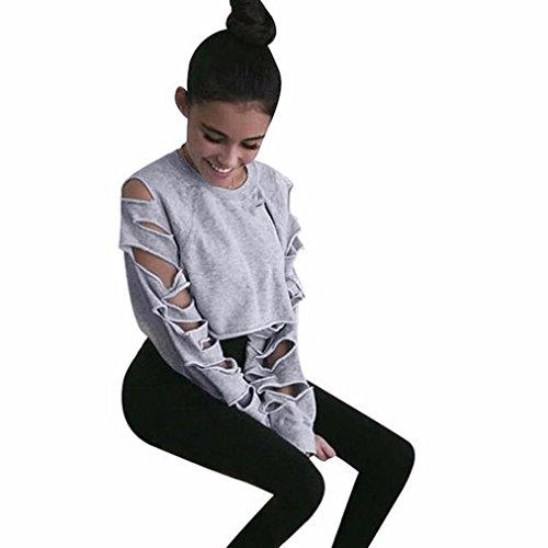 Xinan Damen Hohle Loch kurz Pullover Langarm Hemd Bluse Tops (M, Grau)