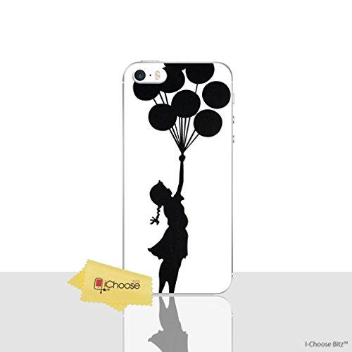 iPhone 5/5s Banksy Silikonhülle/Gel Hülle für Apple iPhone 5s 5 SE/Schirm-Schutz und Tuch/iCHOOSE / Ballons (Iphone 5s Fall Lachen)