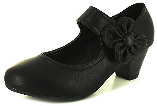 Nuovo Donne/Da Donna Nero Tacchi Bassi Stile Mary Jane scarpe décolleté nero - NUMERI UK 3-9 - Nero (nero), 40, Nero