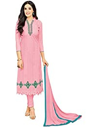 Rajnandini Women's Pure Cambric Cotton Embroidered Dress Material(JOPLMF2007_Pink_Free Size)