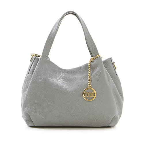 362f30defdc Mia Tomazzi - Leather Handbag - GREY (16) - Made in Italy - 30x32x18