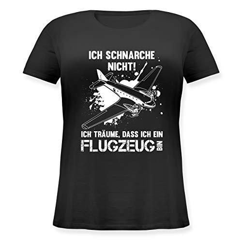 Sprüche - Ich schnarche Nicht ich Bin EIN Flugzeug - M (46) - Schwarz - JHK601 - Lockeres Damen-Shirt in großen Größen mit Rundhalsausschnitt