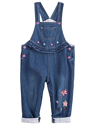 Camilife Baby Mädchen Jeans Latzhose Strampler Overalls Weiche Baumwolle Denim Hose Dünn für Frühling Sommer Schmetterling Blumen Pattern Größe 56/62