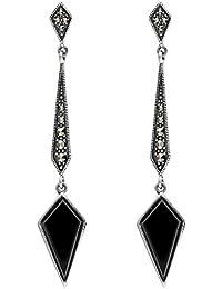 Esse Marcasite Sterling Silver Art Deco Semi Precious Gemstone Set Long Spear Drop Earrings