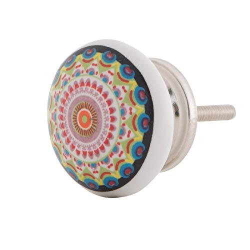 Knober Möbelknopf Keramik Porzellan Knauf Schrankgriff Bedruckt Manadala Energy (Bunt 07) 7 Möbelknopf