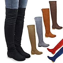 essex glam womens over the knee high flat ladies long faux suede thigh high boots size 3-8 - 41kJvftreiL - ESSEX GLAM Womens Over The Knee HIGH Flat Ladies Long Faux Suede Thigh HIGH Boots Size 3-8