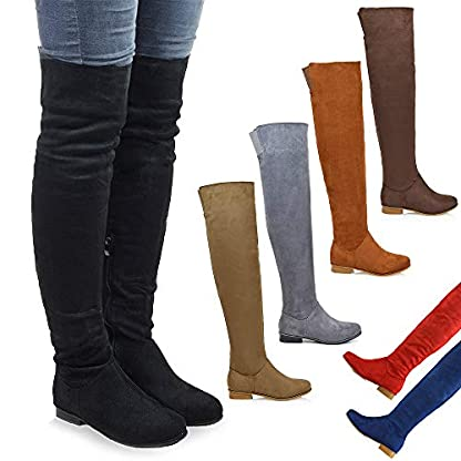 Womens Over The Knee High Flat Ladies Long Faux Suede Thigh High Boots Size 3-8 1