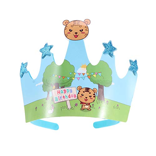 2pcs Child Crown Cap Birthday Celebration Baby Shower Hat Cute Dress-up Role Play Accessory Party Supplies Photo Props (Tiger) (Dress Up Birthday Party Supplies)