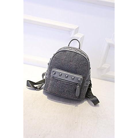 Borsa donna Zaino tela borsetta rivetto versione coreana di 2016 nuovi sport ricreativo travel sacchetta bag,grigio - Sport Sacchetta