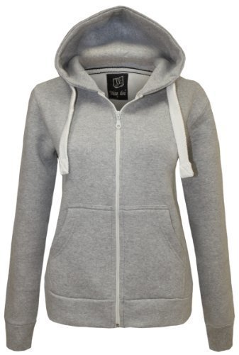 CANDY FLOSS LADIES HOODIE SWEATSHIRT FLEECE JACKET TOP SILVER GREY SIZE 14