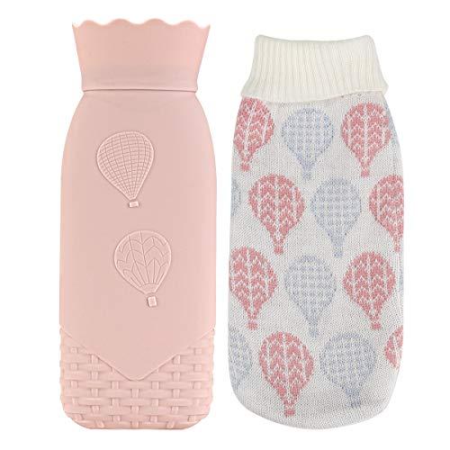 Wärmflasche, Terra Tu Kinder-Wärmebeutel mit Abnehmbarer, Weicher Strickhülle für Kinder Mädchen Frauen Mini-Reise-Wärmflaschen für Körper Hand Fußwärme Schmerz- und Schwellungslinderung (Pink)