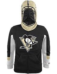 """Pittsburgh Penguins Youth Jeunes NHL Reebok """"Goalie Mask"""" Full Zip SweatShirt Chemise"""