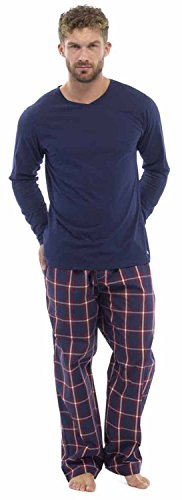 Wolf & Harte Mens Plaid Print Check Pants With Jersey Top Pyjama Nightwear Lounge Wear