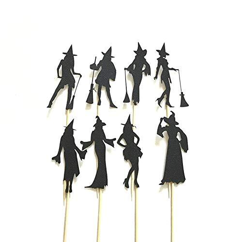 Mann Kopfloser Kostüm Kind - WSJDE Cupcake-Dekoration, Hexen-Motiv, Schwarz, 8 Stück