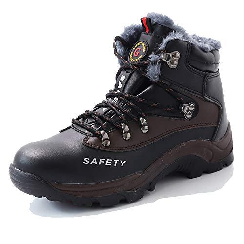 BESKEE Winter Sicherheitsschuhe Herren S3 Wasserdicht Arbeitsschuhe Damen Sicherheitsstiefel mit Stahlkappe & Warm Gefütterte