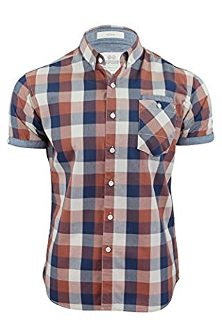 Mens Shirt by Crosshatch 'Chunk Check' Short Sleeved