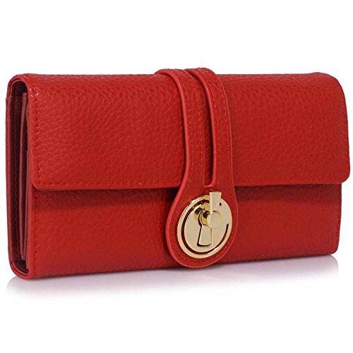 LeahWard® Genuine Kunstleder Geldbörsen Brieftaschen Mode nett Groß Geldbörsen Tasche Rot 1078