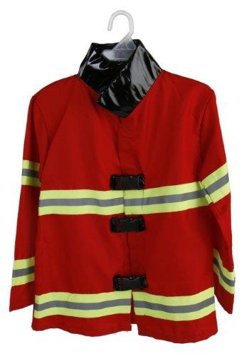 Feuerwehrmann Kostüm + 300ml Feuerlöscher Wasserpistole für Kinder Feuewehranzug FeuerwehrJacke Karneval Jungs 4-7 (Für Kinder Kostüm 300)