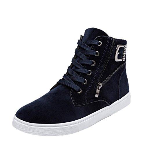 FEITONG Herren Schuhe Sneakers, High-Top Schuhe Warme Stiefel Canvas Turnschuhe, Größe 39~44, Schwarz Blau Gelb (44, Blau)