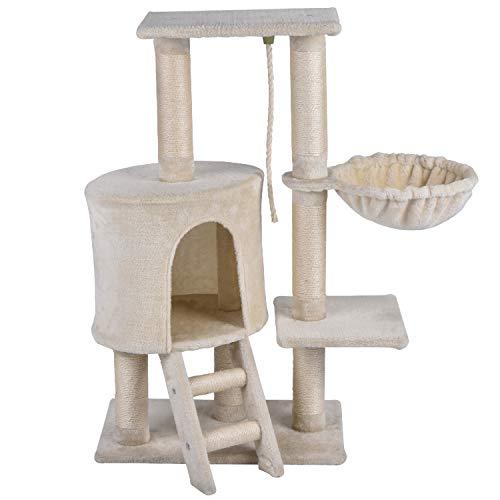 KExing Árbol de Gato Rascador Árbol Trepador Sisal Felpa con Hamaca y Cuerda 96 cm Beige