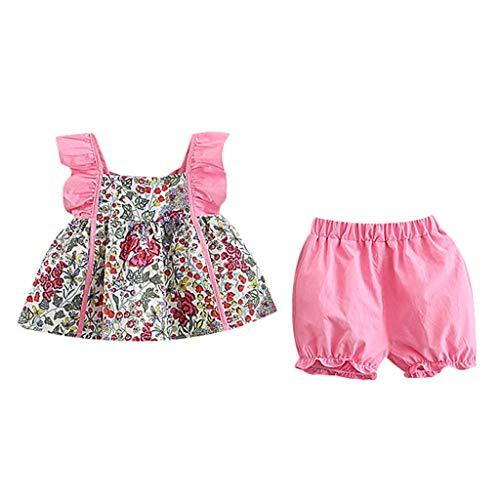 LSAltd Kinder Mädchen Süße Blumendruck Rüschen Sling Kleid + Einfarbig Laterne Hosen Bequeme Weiche Baumwolle Outfit Set