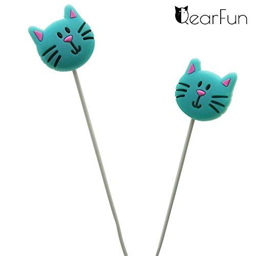 Qearfun in Ear Wired 3.5 mm 3D cute Cartoon Mint Cat auricolare auricolari  cuffie b378051e2694