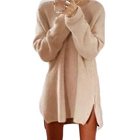 Femmes Robe de Automne Manches Longues Cou Ronde Casual Lâche Zip Longue Pullover Pulls (S, Abricot)