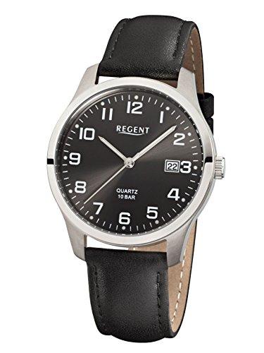 REGENT F932 para hombre de titanio reloj con correa de piel
