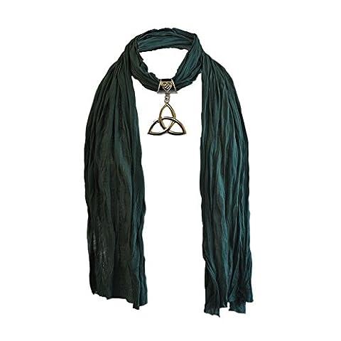 Damen Schal mit großem keltischen Metall Trinity Knoten Anhänger, grün
